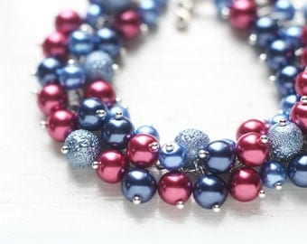 Red and Blue Bridesmaid Jewelry for Weddings, Cornflower Blue, Burgundy Red