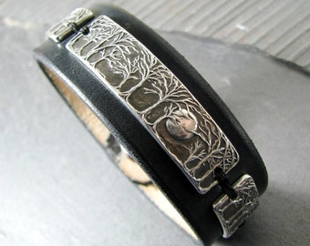 Moonlight Cuff, Fine Silver Moon and Trees Links on Black Leather Cuff, Artisan Original by SilverWishes