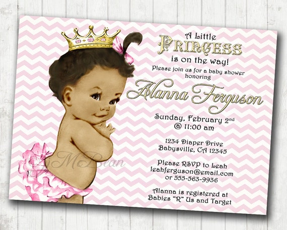 chevron princess baby shower invitation for girl pink and,