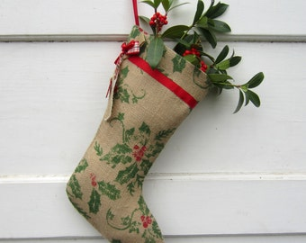 Burlap Christmas Stocking - Rustic burlap - Ivy and Berries - Green and Red - Industrial -  Ready to Ship