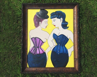 """50% off!  Original mixed media painting, """"Undria and Overia"""" by Jennifer Gonzalez of Jupiter Moon 3 Corsets"""