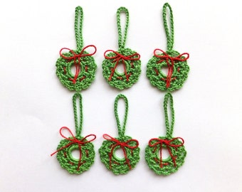 Christmas wreath decoration - crochet wreath ornaments - winter wedding favors - green holiday decorations - home decor - set of 6  ~1.6 in