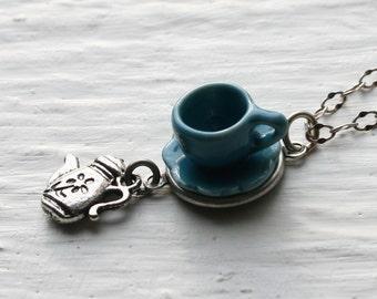 Tea Cup Necklace - Blue