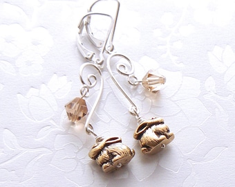 Sterling Earrings - Silver Chandelier Style, Antique Gold Pewter Bunny Rabbit Beads, Golden Topaz Crystal Beads