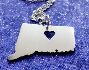 I Heart Connecticut - Necklace Pendant or Keychain