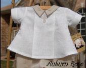 Baby Boys White Ecru Christening Dedication Linen Outfit Set Romper Cross 6M