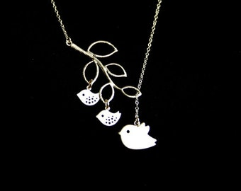 Family bird , mothers necklace , bird and branch necklace, lariat style -  STERLING SILVER, mama and baby birds , sweet mother's day gift