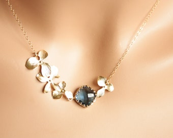 WEDDING JEWELRY Necklace , GOLD Tripe Orchid Flowers  Blue stone in bezel  ,Bridal jewelry , beautiful elegant necklace  special for Brides