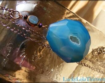 Blue Agate earth gem pendant necklace