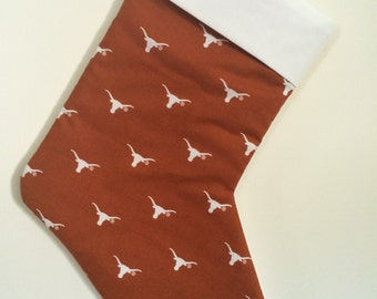 Texas Longhorns Christmas Stocking can be personalized