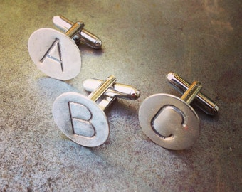 CUSTOM Initial Cuffliinks, Sterling Silver Personalized Hand Stamped Cufflinks, Any 2 LETTERS, WEDDING Cuff Links Groomsmen