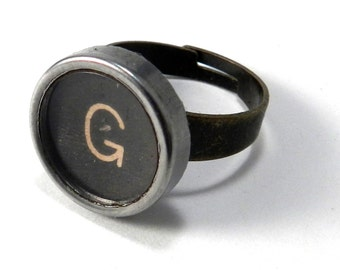 Vintage Typewriter Key Ring - Letter G Ring Name Ring - Custom Initial Ring - Brass Adjustable Ring