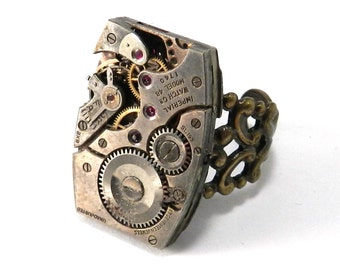 STEAMPUNK Watch Ring, Square Clockwork Ring, Vintage Watch Movement Jewelry, Brass Adjustable Ring