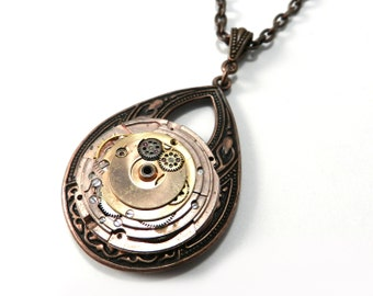 Copper Steampunk Necklace, Vintage Watch Movement Teardrop, Vintage Edwardian Steampunk Jewelry - 9th Anniversary by Compass Rose Design
