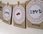 Blank note card, Valentine's, Anniversary, hand-made, hand-stamped, craft card, doily, love sentiment, Won't you stay with me