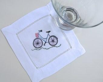 Linen Cocktail Coasters Blue Bicycle Set Linen Party Decor Gift