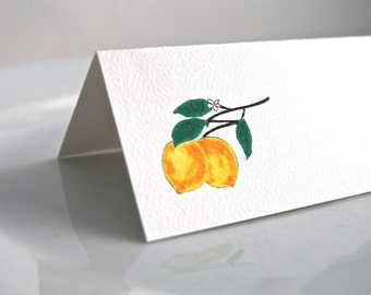 Lemons Tented Cards, Personalized Seating, Blank Name Cards, Wedding Event Cards, Tented Cards, Lemon Party Theme, Party Decor,