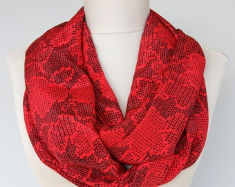 Dark Red infinity scarf vintage Korean fabric scarf flower pattern loop scarf valentines day gift for her limited quantity