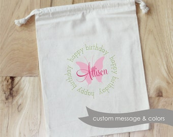 BUTTERFLY -Personalized Favor Bags - Set of 10 - Birthday