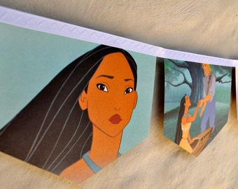 POCAHONTAS Banner Vintage Little Golden Book Bunting Paper storybook Children Repurposed story book Decoration birthday party decoration