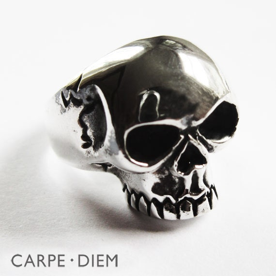 silver skull ring mens solid sterling by carpediemjewellery