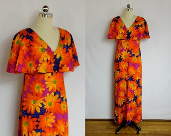 Vintage Orange daisy Hawaiian maxi dress