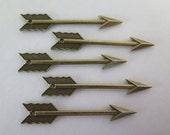 5PCS - Arrow Charms - Antique Bronze - 61x11mm - Findings by ZARDENIA
