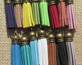 15PCS - Fringe Tassel with Antique Bronze Caps - 35mm - Suede - Multicolor Sampler Pack