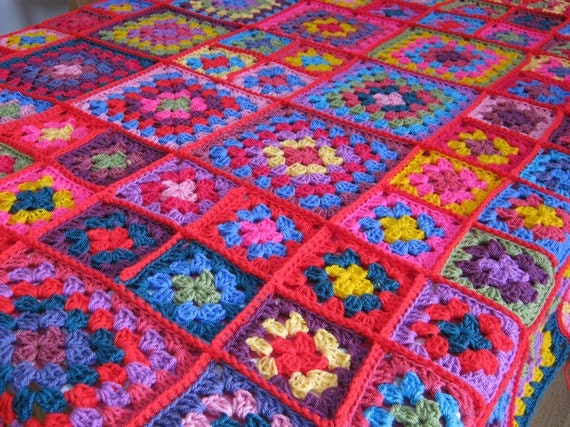Dolly Sublime Large Crochet Granny Square Blanket Afghan Throw
