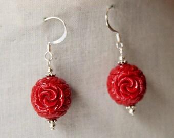 Handmade Red Earrings Red Resin Flower Earrings Red Flower Bead Earrings Red Dangle Earrings Red Flower Earrings