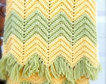 Vintage Blanket  Afghan Throw Chevron Pattern Blanket Geometric Pattern Throw Avocado Yello Color Boho Decor Bohemian Throw BOHO Blanket
