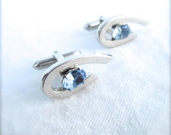 Vintage Cufflinks Cuff Links Silver Pastel Silver Colored Blue Stone Eyes 1960 60s Mad Men