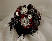 Brooch Nightmare Before Christmas, red and black, brooch bouquet,  bridal bouquet, wedding , themed bouquet
