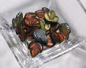 Amber Vitrail Czech Glass Maple Leaves - gold autumn fall leaf maple glass amber