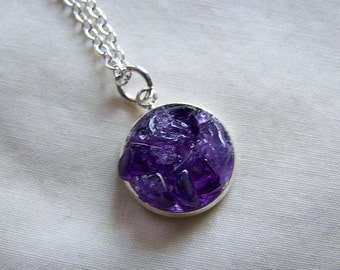 Amethyst Gemstone Crystal Pendant Necklace