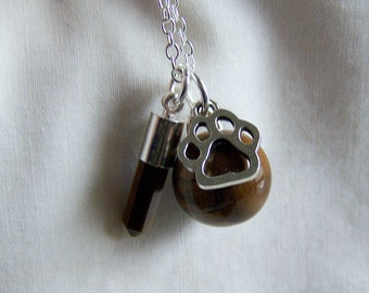 Tiger's Eye Gemstone Ball Silver Paw Jewelry Pendant