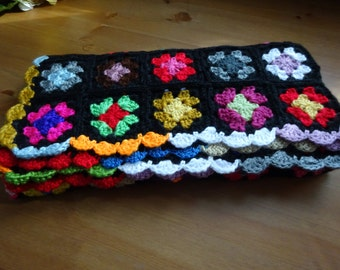 Crocheted afghans blankets,  Handmade Baby Afghan Blanket Miniature GRANNY SQUARES,