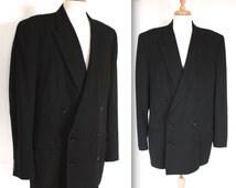 Vintage 1940s Suit Jacket // Men's 40s 50s Black Wool Tux Jacket // Top Hat