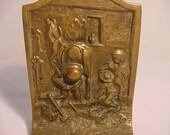 Vintage The Village Blacksmith Heavy Bronze Bookends   14 - 124