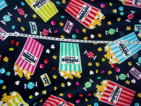 Popcorn Movie Candy Fleece Fabric Jellybean Polyester Quilt