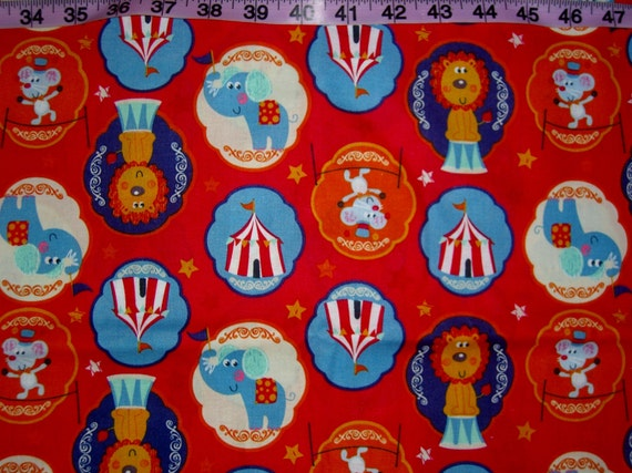 Circus fabric elephant lion bigtop kids baby cotton quilters for Childrens elephant fabric