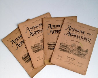 Antique 1800's American Agriculturist Weekly paper- Set of 4