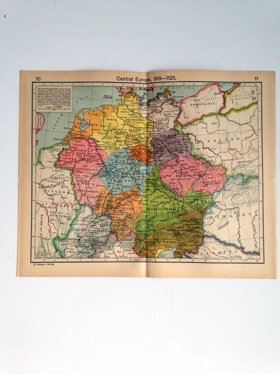 Double Sided Medieval Map - Europe and its expansion  - Central Europe