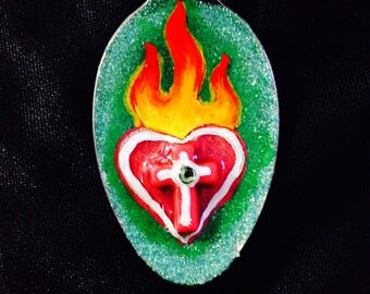 Day of the Dead Sacred Heart - spoon necklace - red/green