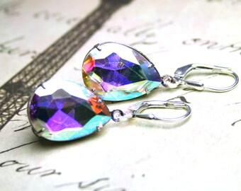 ON SALE - Last Pair - Vintage Glass Jewel Earrings in Crystal AB - Teardrop Earrings - Sterling Silver Leverbacks