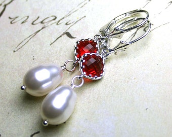 Ruby and Pearl Earrings - Swarovski Crystal Pearls and Red Cushion Cut Stones with Sterling Silver - Silver Leverbacks