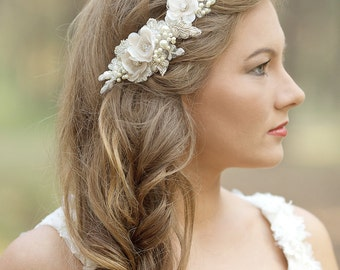 Wedding hair accessories, Wedding hair comb, Wedding headpiece, Wedding hair piece, Bridal hair comb, Floral, Rustic Champagne