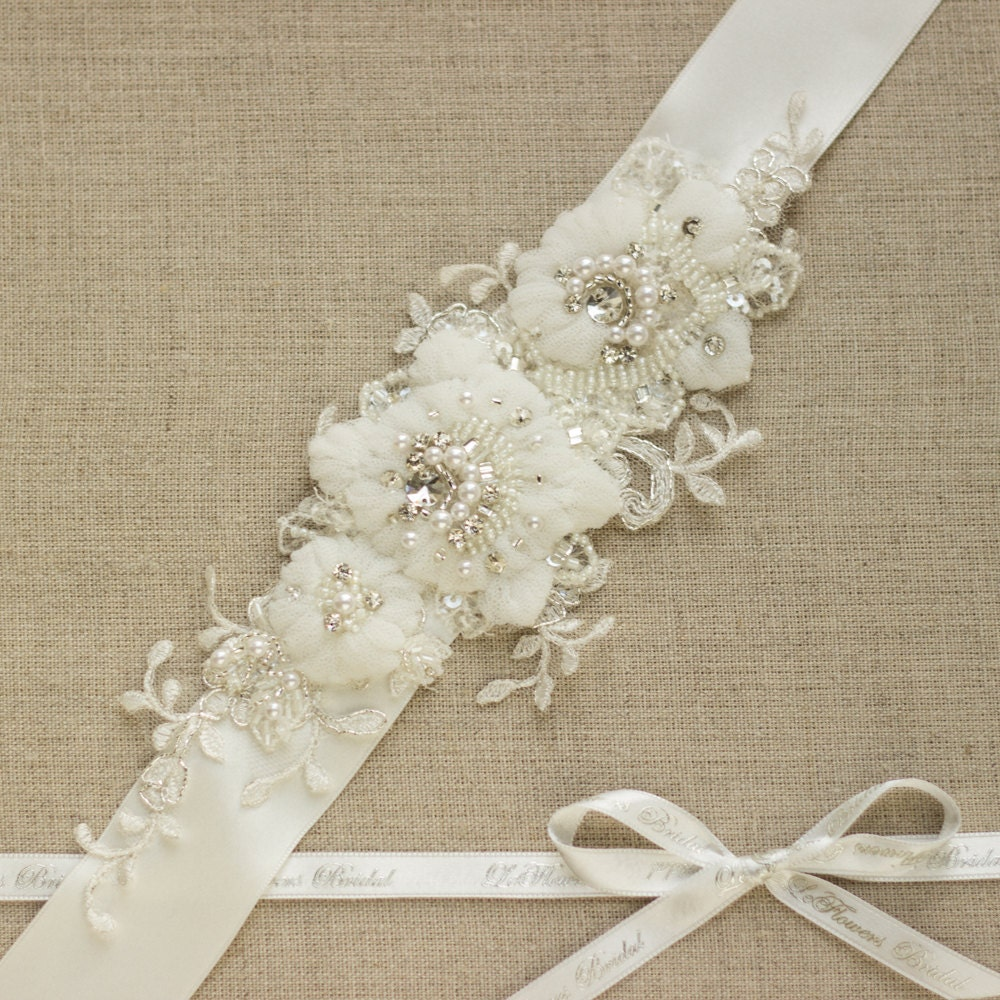 Wedding dress belt lace sash lace belt rhinestone by leflowers for Wedding dress sash with rhinestones