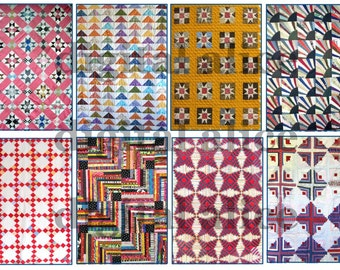 VINTAGE PATCHWORK QUILT - aceo atc trade cards - 8 3.5 x 2.5 inches  -Instant Download Digital Printable cards  - DiY