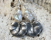 Water Lily & Pearl Earrings-          Sterling Silver       Gemstone -  Wire Wrapped freshwater pearl